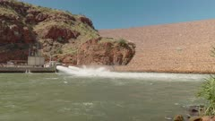 a low angle view of lake argyle power station outlet near kununurra in western australia