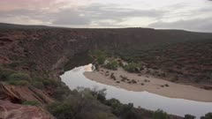sunrise pan of the murchison river from near nature's window at kalbarri national park in western australia