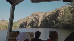 pov shot from a sunrise cruise boat of nitmiluk gorge, also known as katherine gorge at nitmiluk national park in the northern territory