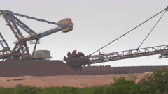 close up of an iron ore loader stacker at port hedland in western australia