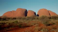 an afternoon panning shot of kata tjuta in uluru-kata tjuta national park of the northern territory, australia