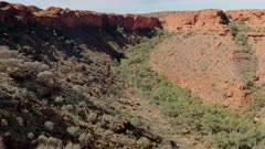 a winter afternoon pan of kings canyon from the rim walk in watarrka national park of the northern territory, australia