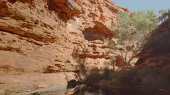 a tilt down shot of the garden of eden at kings canyon in watarrka national park of the northern territory, australia