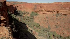 a panning right clip of kings canyon from the rim trail in watarrka national park of the northern territory, australia