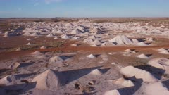 an aerial pullback clip of opal mine tailings at coober pedy in outback south australia