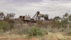 a wide shot of the historic junction mine at broken hill in western nsw, australia