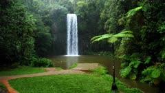 Millaa Millaa Falls raining, slow-motion