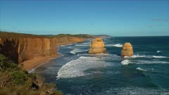 The 12 Apostles, Great Ocean Road, late afternoon, wide, east