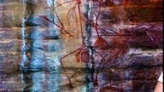 Aboriginal Art in Kakadu, tilt up to a figure like an ant