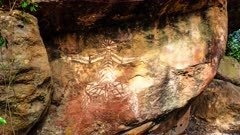Aboriginal Art in Kakadu, zoom in to a figure