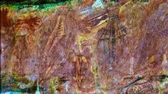 Aboriginal Art in Kakadu, zoom into a turtle