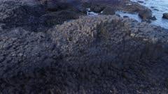 Giants causeway, Antrim Ireland, aerial sideways move