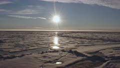 Aerial view of arctic sea ice with low sun