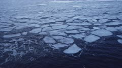 Arctic ocean with pancake sea ice and swell