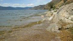 Okanagan Lake waves on rocky shoreline