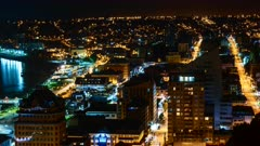 Puerto Montt downtown night time lapse