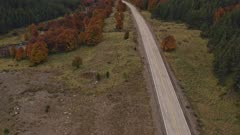 Aerial Drone 4k - Southern Highway in autumn