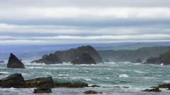 Rough sea, at the coastal town of Estaquilla in Los Muermos. South of Chile, Los Lagos Region.