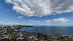 Time lapse - Bay of Puerto Montt a summer day, where the arrival of cruise ships is frequent