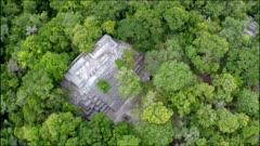 aerial over maya pyramid
