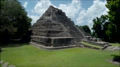 aerial over mayan pyramid