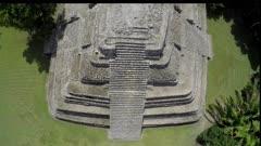 Aerial Over Mayan Pyramid, Mayan Ruins, Santuary