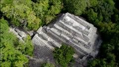 Aerial Over  Mayan Pyramid, Mayan Ruins