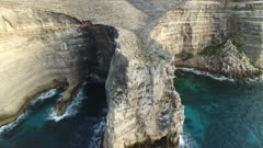 aerial view of Lampedusa island cliff