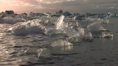 Southern Iceland. Vatnajokull National Park, Jokulsarlon lake. View from the water of icebergs calved from Vatnajokull glacier.