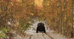 Sport recreation off road winter snow autumn leaves. Enjoy beauty of seasonal Autumn colors early winter snow, exploring high mountain roads and trails. Riding sports utility vehicle UTV side by side 4x4 4 wheel drive ATV high mountain and valley. Fall colors, beautiful nature before winter sets in. Great outdoors and landscape. Forest Aspen and pine trees. Exploring. Popular travel and sport drive in central Utah. 4K HD footage video. Despain Rekindle Photo. 520