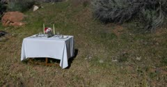 Outdoors formal dining dinner table in nature. Formal table setup in nature for a romantic date with spouse, husband or wife. Plates, white cloth, napkins, flowers, candles and wine glass. Near river and picnic camping area park. Love and friendship. Memory. 4K HD video footage. Despain Rekindle Photo. 5378