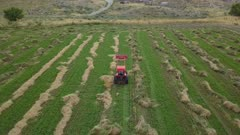 Aerial follow farm tractor working hay turn field. Aerial rural farming community agricultural economy. Spring summer weather mountain valley green agriculture field. Seasonal rural farm harvest. Alfalfa hay for livestock feeding. Drone flight. 4K HD video footage. Despain Rekindle Photo. 026