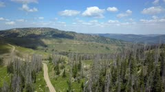 Aerial high mountain trail central Utah forest pull back. Skyline Drive off road trail and road central Utah. Alpine peaks, meadows and valley forest. Travel and exploring wilderness outback country landscape and nature. 4K HD video footage. Despain Rekindle Photo. 037