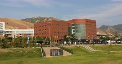 University of Utah Hospital complex Salt Lake City pan. Research and teaching hospital on the campus in Salt Lake City, Utah. Specialties, cardiology, geriatrics, gynecology, pediatrics, pulmonology, neurology, oncology, orthopedics, and ophthalmology. Medical complex University and Primary Children's Hospitals, Moran Eye Center, Huntsman Cancer Institute, Dental School, clinics and Diabetes Center. Doctors Residents save lives. 4K HD video footage. Despain Rekindle Photo. 5710
