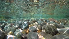 Pebbles stone under water surface near sea shore, natural scene, Mediterranean, Cote d'Azur, France