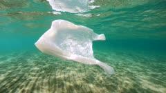 Plastic bag pollution underwater in the sea, Mediterranean, France
