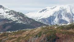 UHD 6k aerials of fall mountain range in Southeast Alaska