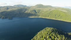 Aerial view of the Tongass National Forest near Sitka, Alaska in summer