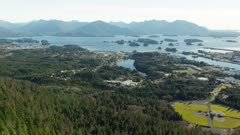 Aerial view of the Tongass National Forest and Sitka, Alaska in summer
