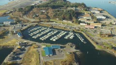 Scenic aerial view of a small harbor in the city of Sitka,Alaska