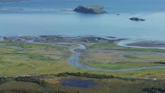 Aerial view of a river delta at Hallo Bay, Katmai National Park, Alaska
