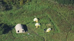 Camping tents set up on the Katmai National Park coast, Alaska