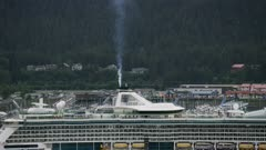 Aerial shot of cruise ship in Seward, Alaska