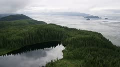 Scenic view of a forested mountain and river delta near Prince William Sound, Alaska