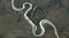 Aerial shot of a meandering river in the Brooks Range, Alaska