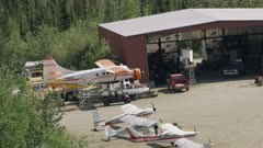 Aerial shot of airplanes near the Bettles airstrip, Interior Alaska