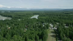 Aerial shot of Talkeetna, Alaska