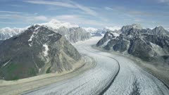 Aerial shot of rugged mountains and Ruth glacier in Denali National Park, Alaska