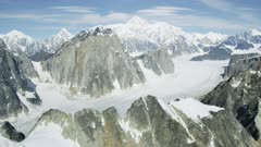 Aerial shot of Ruth glacier and the Mount Denali mountain range, Alaska