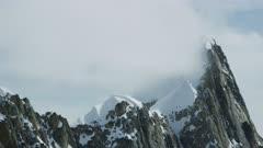 Aerial shot of rugged mountains in Denali National Park, Alaska
